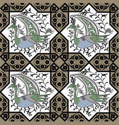 Seljuk style iznik seamless pattern vector