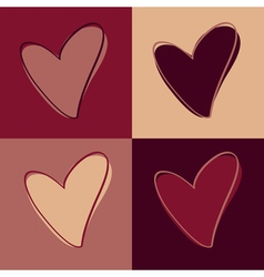 Set of hearts marsala vector