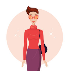 stylish young woman wearing trendy clothes vector image vector image
