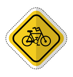Traffic signal with bicycle vehicle isolated icon vector