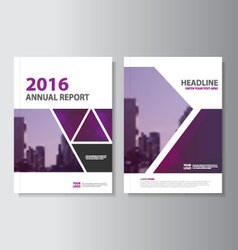Triangle purple annual report leaflet brochure set vector