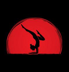 woman yoga action sport woman pose vector image