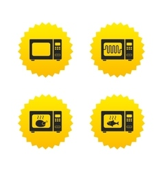 Microwave oven icons cook in electric stove vector