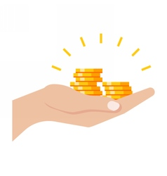Gold coins in hand vector