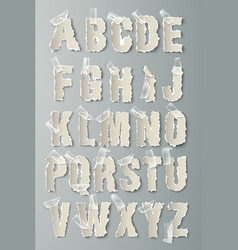 alphabet torn paper with transparent tape vector image