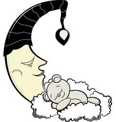 teddy bear and moon vector image