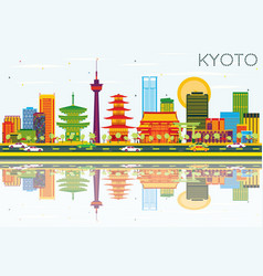 Kyoto skyline with color buildings blue sky and vector