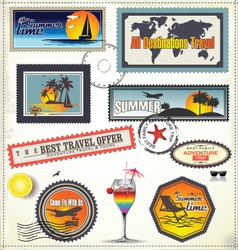 Travel post stamp vector