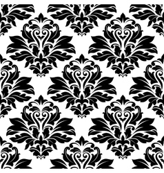 Seamless damask black floral background pattern vector
