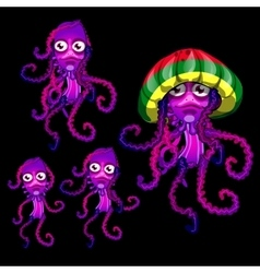 Set of funny jellyfish rasta rasta cap beret vector