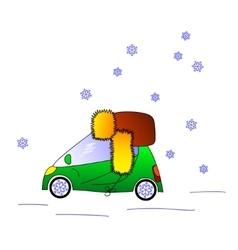 Green car in hat winter vector