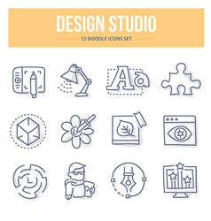 Design Studio Doodle Icons vector image