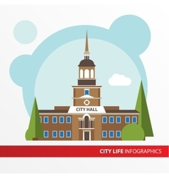 Goverment building icon in the flat style city vector