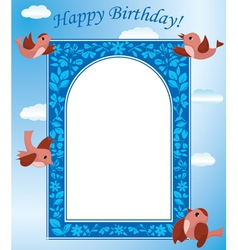 blue card with birds vector image