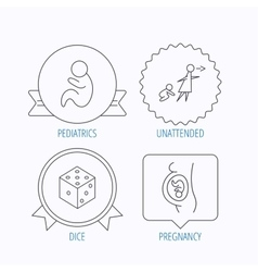 Pregnancy paediatrics and dice icons vector