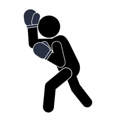 Boxing person pictogram icon vector