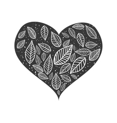 Leaves inside heart icon nature design vector