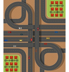 Aerial scene with roads and cars vector image