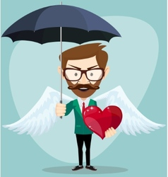 Angel man with an umbrella wings and heart vector