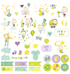 Baby boy scrapbook set scrapbooking decorative vector