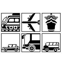 black and white square icons of all modes of vector image