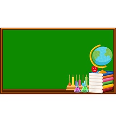 Blackboard and many books vector image vector image