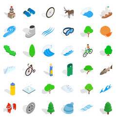 Camping icons set isometric style vector