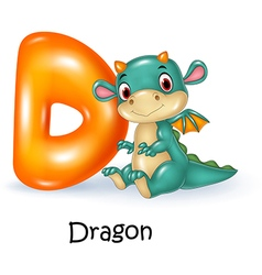 Cartoon of d letter for dragon vector