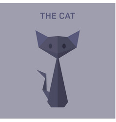 cat animals origami flat low vector image