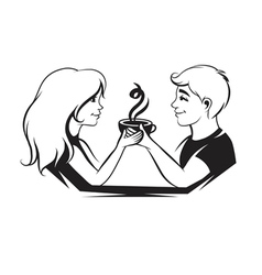 Couple with coffee vector