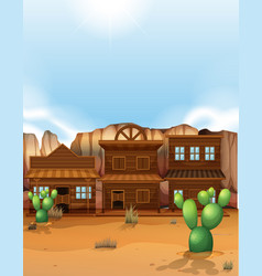 Desert scene with western style buildings vector