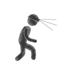 Drawing worker mining helmet light head figure vector