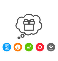 Dreaming of gift line icon present box sign vector