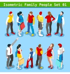 Family set 01 people isometric vector