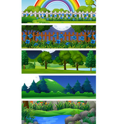five nature scenes with trees vector image vector image