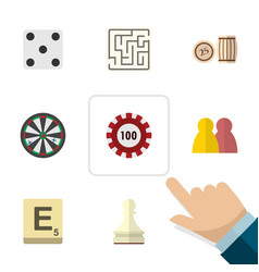Flat icon entertainment set of labyrinth arrow vector
