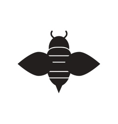 Flat icon in black and white style honey bee vector