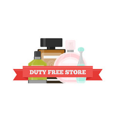 Flat icon of duty free perfume at airport vector