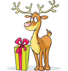 Funny reindeer and gift - isolated on white vector