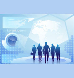 group of business people silhouette walking over vector image vector image