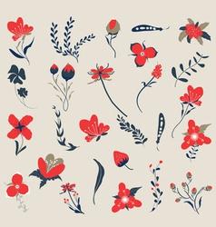 Hand drawn floral retro vector