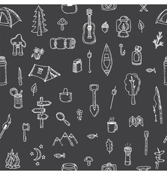 Hand drawn hike seamless pattern Doodle camping vector image