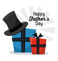 Happy fathers day greeting card gift boxes hat vector