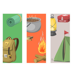 Hiking cards camping equipment gear and vector