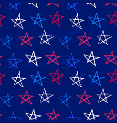 Ink hand drawn seamless pattern with stars in vector