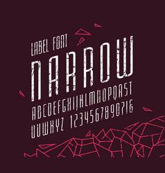 Italic narrow sans serif font vector