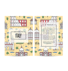 italy traveling banners set in linear style vector image