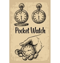 Male hand holding antique pocket watch hold hand vector image