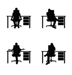 man silhouette sitting in office set vector image vector image