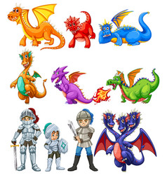 many dragons and knights on white background vector image vector image